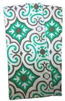 "Crabtree Collection Dishcloth/TeaTowels 100% Cotton Hand Towel Set of 2-18"" x 28"" (Aqua-Grey Small Tile)"