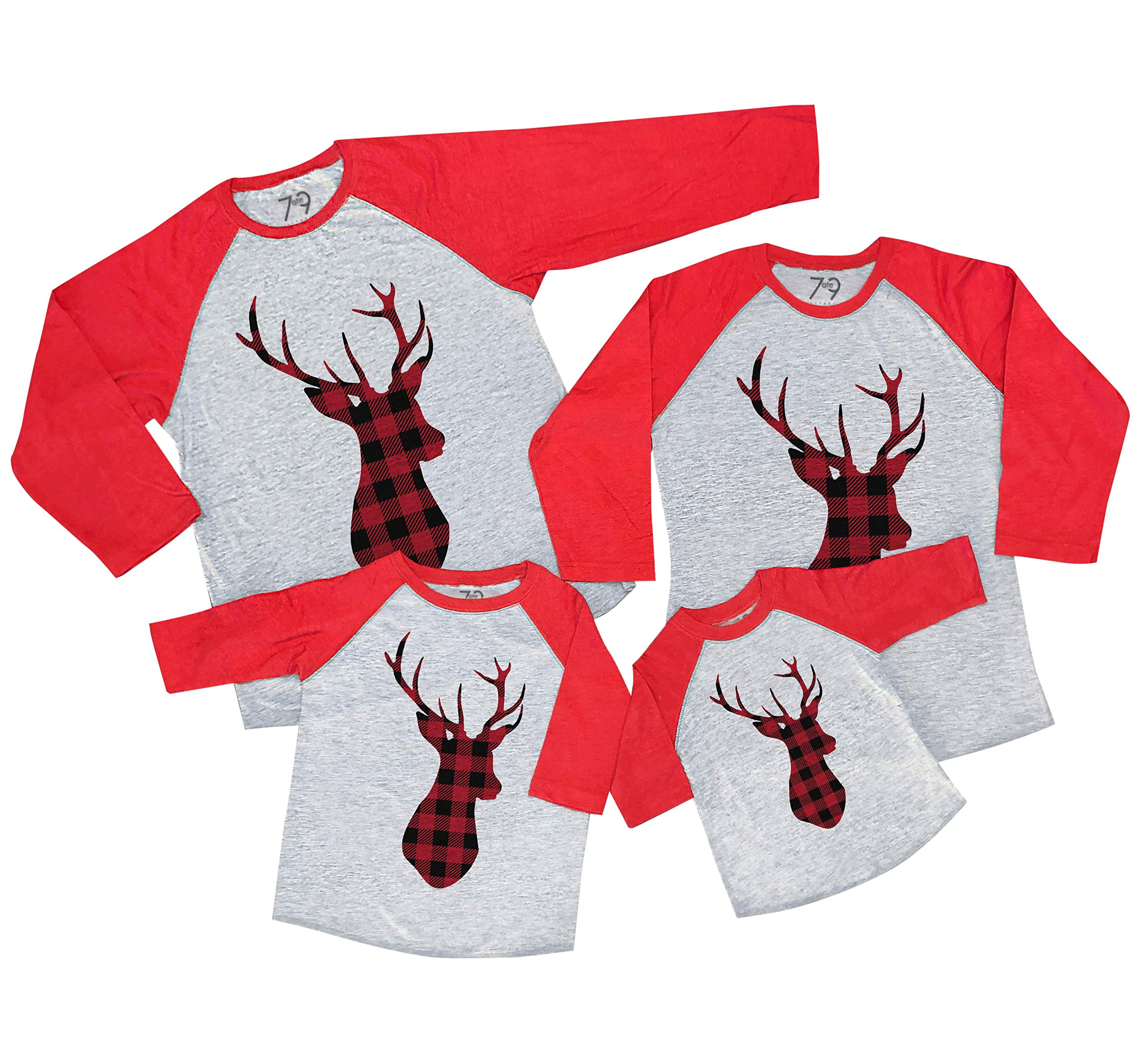 7 ate 9 Apparel Matching Family Christmas Shirts - Plaid Deer Red Shirt