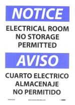 """NMC ESN368AB Bilingual OSHA Sign, Legend """"NOTICE - ELECTRICAL ROOM NO STORAGE PERMITTED"""", 14"""" Length x 10"""" Height, 0.040 Aluminum, Black/Blue on White"""