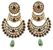 Touchstone Indian bollywood crystals Chand bali designer jewelry earrings in gold tone for women