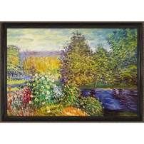 Overstockart Mon1855-Fr-982324X36 Monet Corner of The Garden At Montgeron with La Scala Frame, Black and Gold Finish
