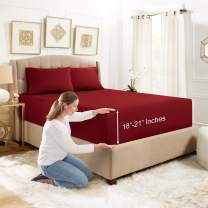 """Empyrean Bedding 3 Set 21"""" Extra Deep Pocket Fitted Sheet with Corner Straps–Double Brushed Microfiber Sheet and Pillowcase Set - 110 GSM – Hypoallergenic Wrinkle Free Sheet, Burgundy - Twin"""