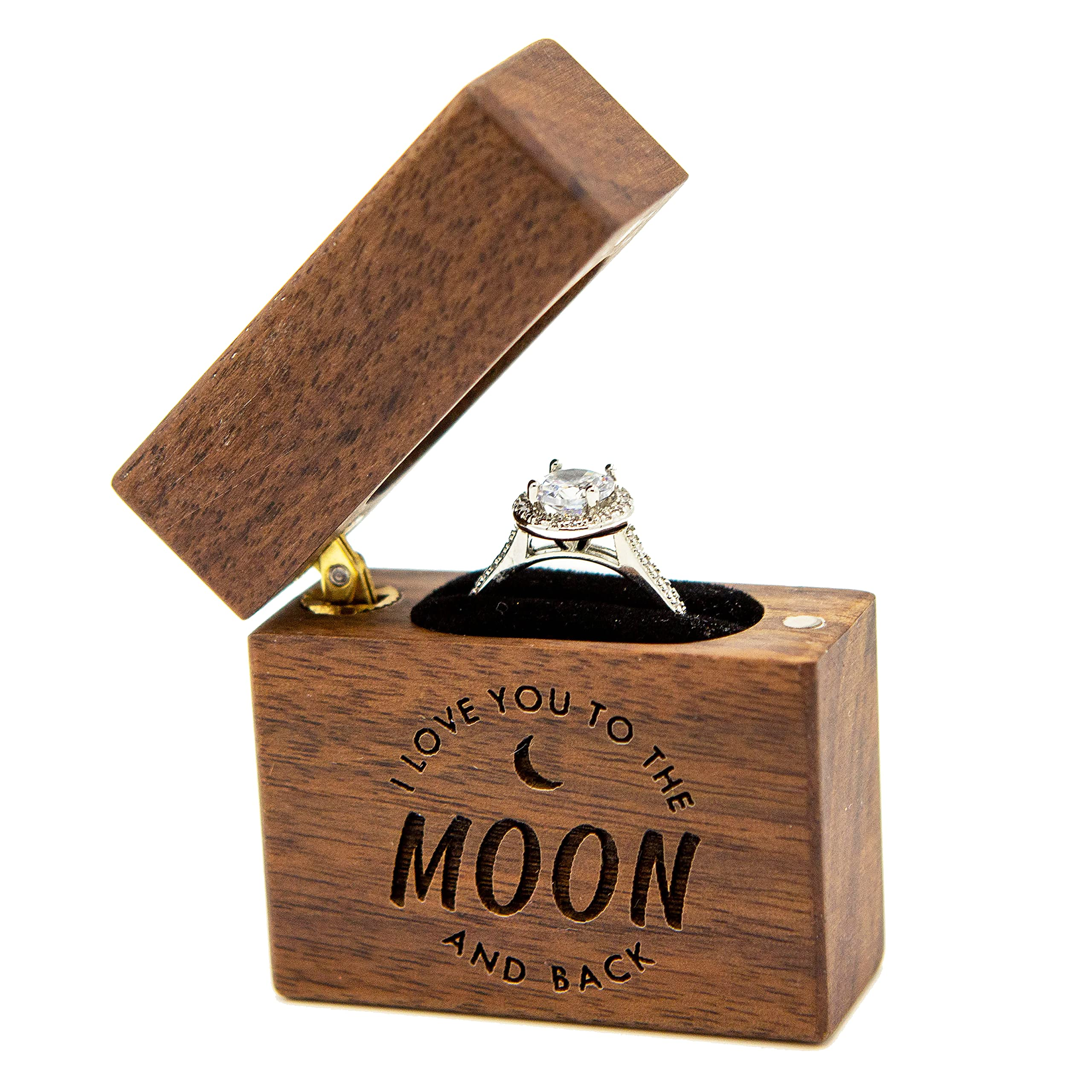 MUUJEE Slim Wood Ring Box - I Love You to The Moon & Back Proposal or Engagement Ring Holder