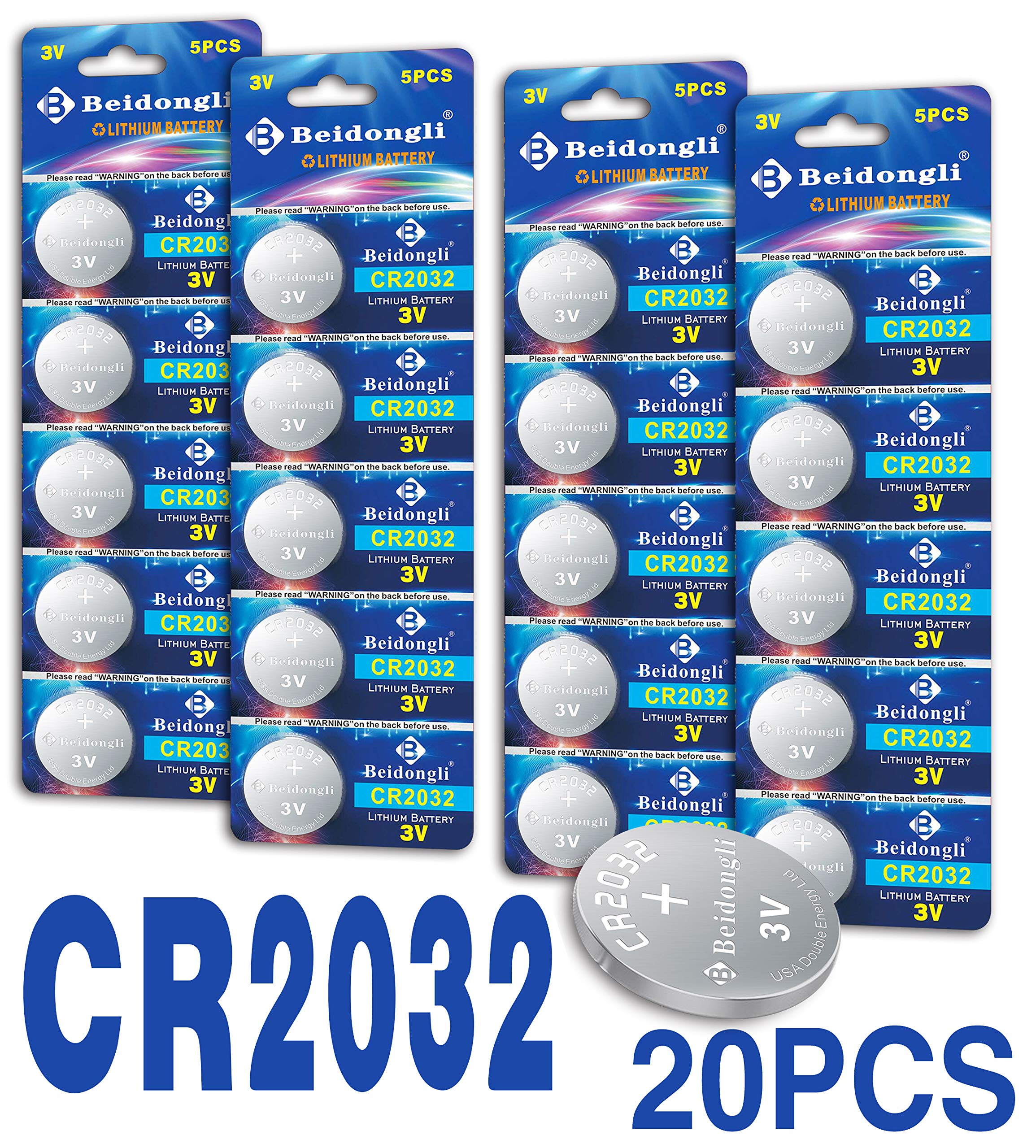 Beidongli CR2032 Battery 3V Lithium Battery Coin Button Cell 20 Pack high Capacity 【5-Year Warranty】