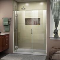 DreamLine Unidoor-X 65 1/2-66 in. W x 72 in. H Frameless Hinged Shower Door in Brushed Nickel, D12930572-04