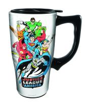 Spoontiques Justice League Ceramic Travel Mug, 16 ounces, White
