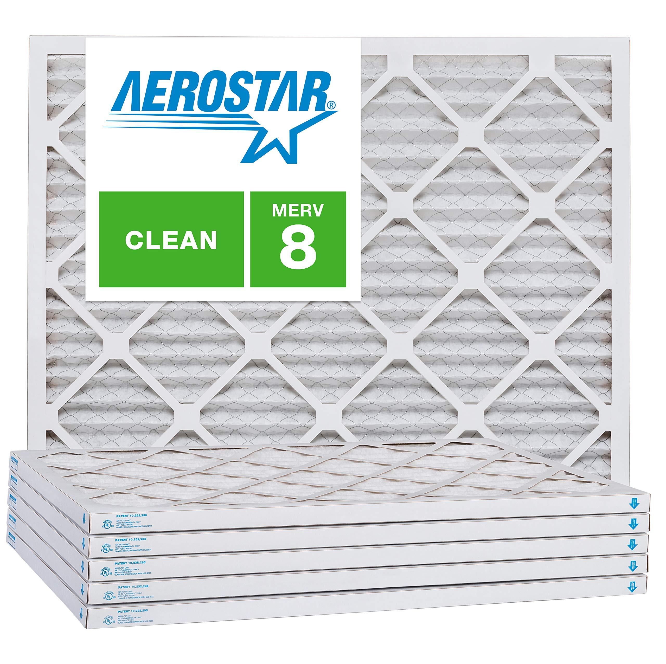 Aerostar 16 1/4x21 1/2x1 MERV 8, Pleated Air Filter, 16 1/4x21 1/2x1, Box of 6, Made in The USA