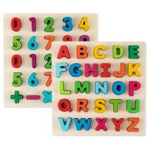 Toy To Enjoy Alphabet Puzzles - Wooden Upper Case Letter and Number Learning Board Toy - Ideal for Early Educational Learning for Kindergarten Toddlers & Preschools
