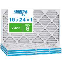 "Aerostar Clean House 16x24x1 MERV 8 Pleated Air Filter, Made in The USA, (Actual Size: 15 3/4""x23 3/4""x3/4""), 4-Pack, White"