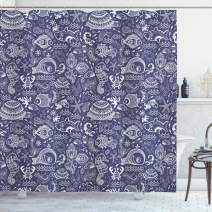 "Ambesonne Under The Sea Shower Curtain, Ocean Animals Shells Plants Seahorse Turtle Fishing Theme Artwork Print, Cloth Fabric Bathroom Decor Set with Hooks, 70"" Long, Navy Blue"