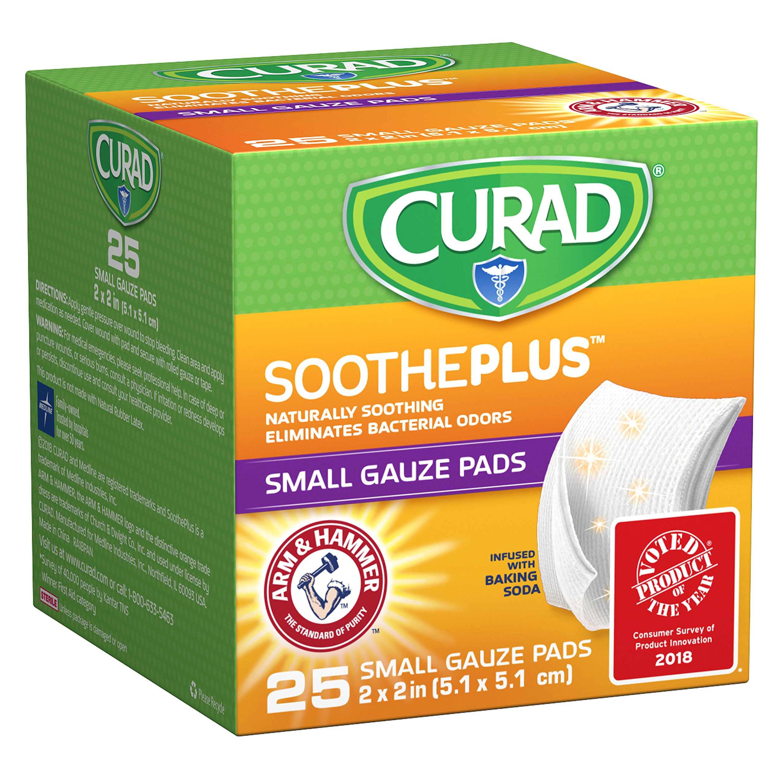 "Curad Sootheplus Gauze Pads with Arm & Hammer Baking Soda, 2"" X 2"", 25Count"