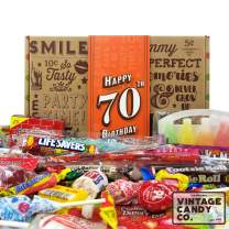 VINTAGE CANDY CO. 70TH BIRTHDAY RETRO CANDY GIFT BOX - 1950 Decade Nostalgic Childhood Candies - Fun Gag Gift Basket for Milestone SEVENTIETH Birthday - PERFECT For Man Or Woman Turning 70 Years Old
