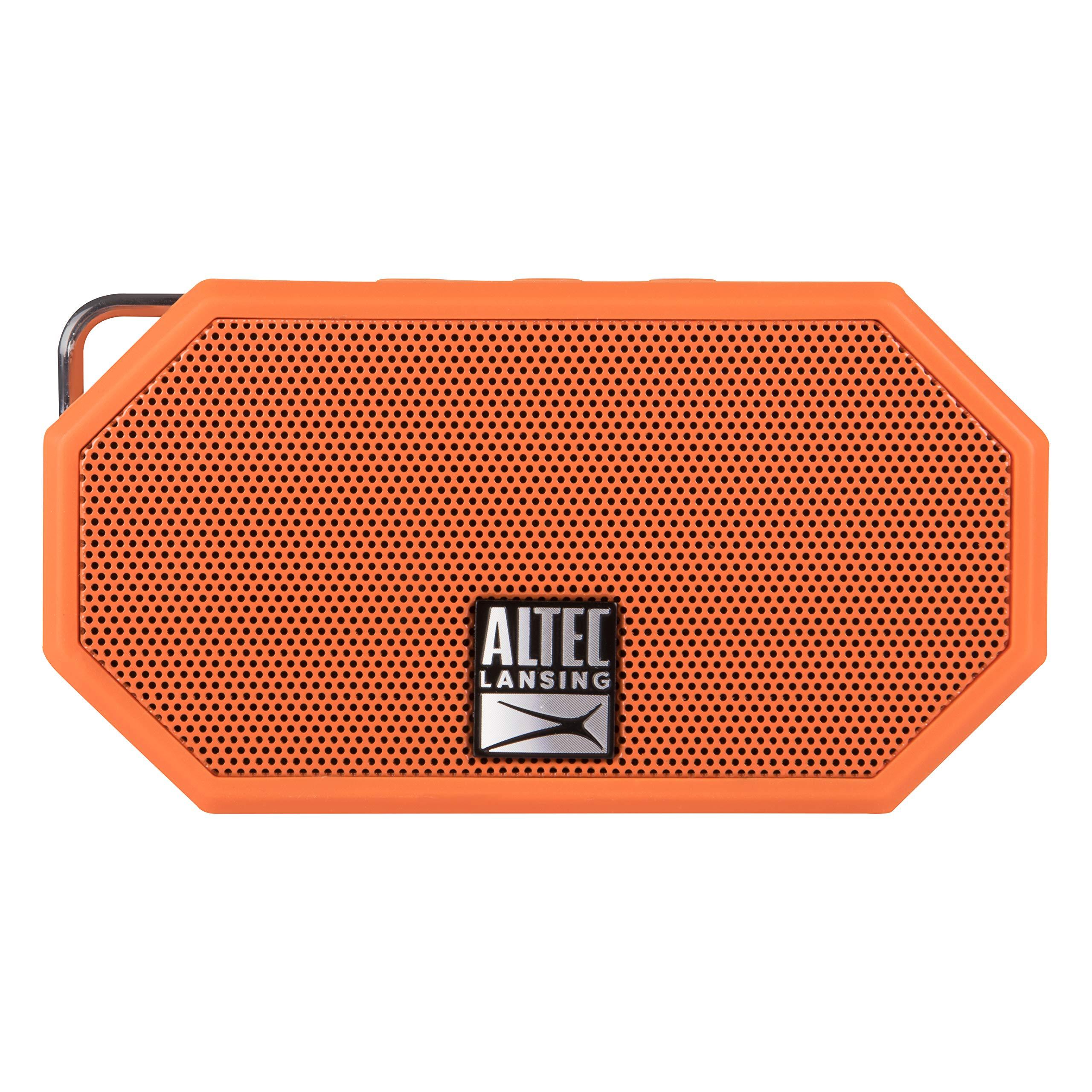 Altec Lansing Mini H2O -  Wireless, Bluetooth, Waterproof Speaker, Floating, IP67, Portable Speaker, Strong Bass, Rich Stereo System, Microphone, 30 ft Range, Lightweight, 6-Hour Battery, (Orange)