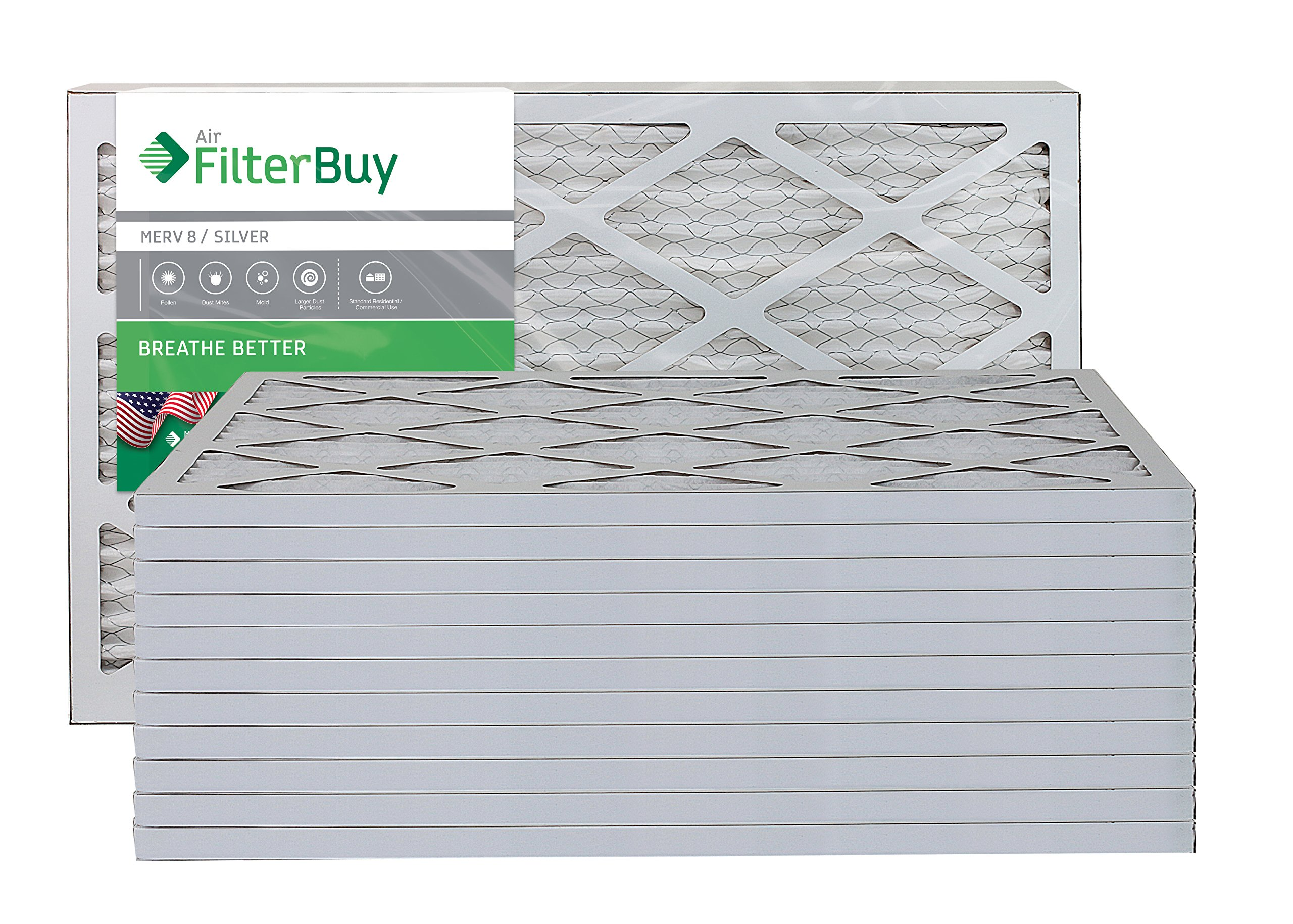 FilterBuy 10x24x1 MERV 8 Pleated AC Furnace Air Filter, (Pack of 12 Filters), 10x24x1 – Silver