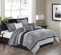 Stratford Park Brooks 7-Piece Comforter Set, Queen, Grey