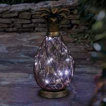 "Exhart Pineapple Cast Iron Lantern Solar 12 LED Firefly Lantern – Outdoor Pineapple Décor Tabletop Glass Lantern in Metal Cage - Pineapple Solar Lantern, LED Metal Lantern – Amber Glass 6""L x6""W x11""H"