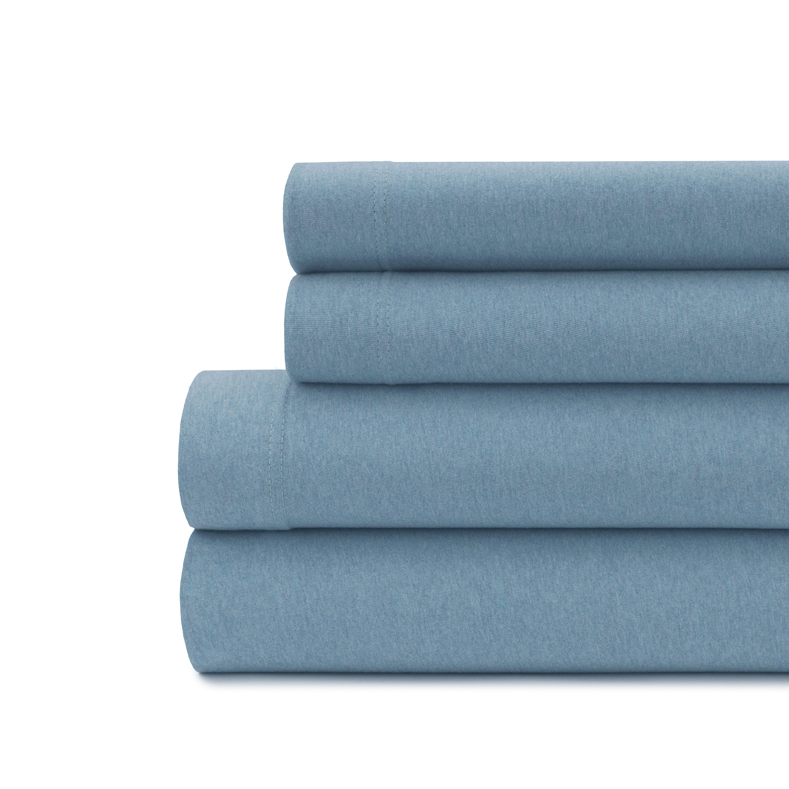 Briarwood Home King Jersey Knit Heather Bed Sheet Set - 4 Pc Soft & Luxurious, 100% Cotton Bedding - Breathable, Deep Pocket, Comfortable & Cozy - T-Shirt Soft All Season Sheets (King, Blue)
