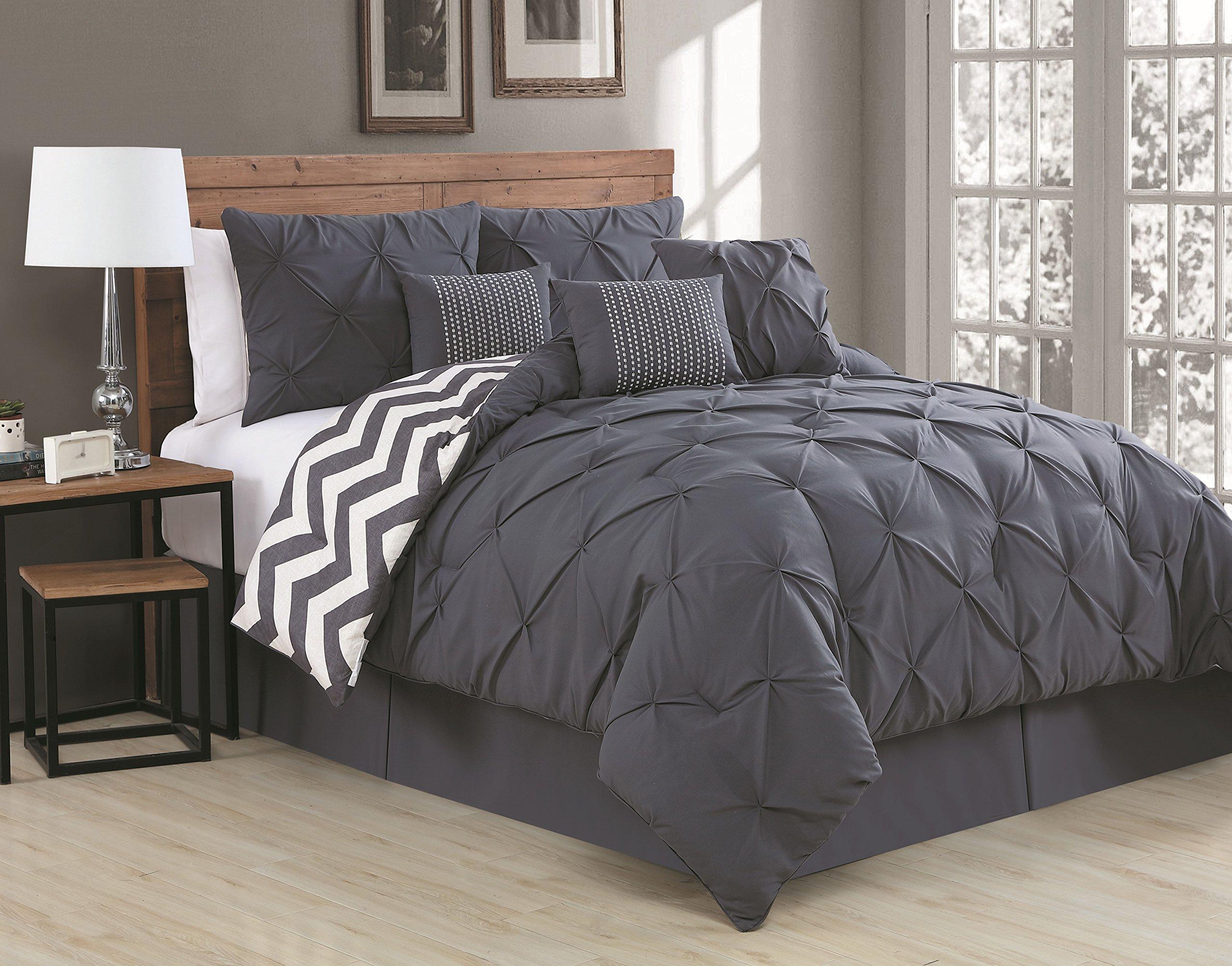 Avondale Manor 7-Piece Ella Pinch Pleat Comforter Set, Queen, Charcoal