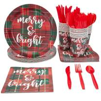 Juvale Christmas Party Supplies (Serves 24), Plates, Napkins, Cups, and Cutlery, Plaid