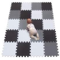YIMINYUER Foam Play Mat Thick Soft EVA Interlocking Foam Floor Mats Children Yoga Exercise Multi Jigsaw Puzzle Blocking Board Kids Playmats Play White Black Gray R01R04R12G301020
