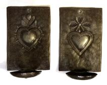 Metal Heart Wall Sconce Candle Holder, Milagros Design, Gift, Presents, Decorative, Handmade in Haiti, 4 x 6 x 3 Inches (Candles not Included)