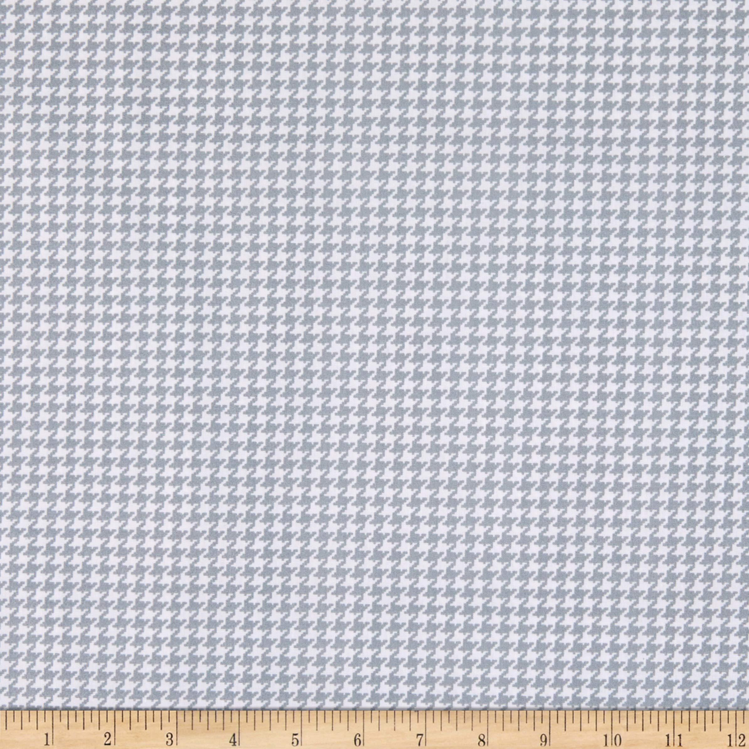 Benartex Kanvas Better Basics Deluxe Cotton Tiny Houndstooth, White/Grey Yard