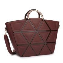 Women Handbags Satchel Purse Top Handle Shoulder Bags Work Tote with Geometric Trim