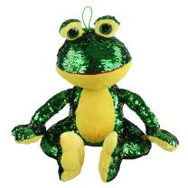 Athoinsu Flip Sequin Stuffed Frog Plush Toy Adorable Jungle Animals with Sparkle Magic Sequins Birthday Holiday Children's Day Gifts for Toddler Kids, 12''