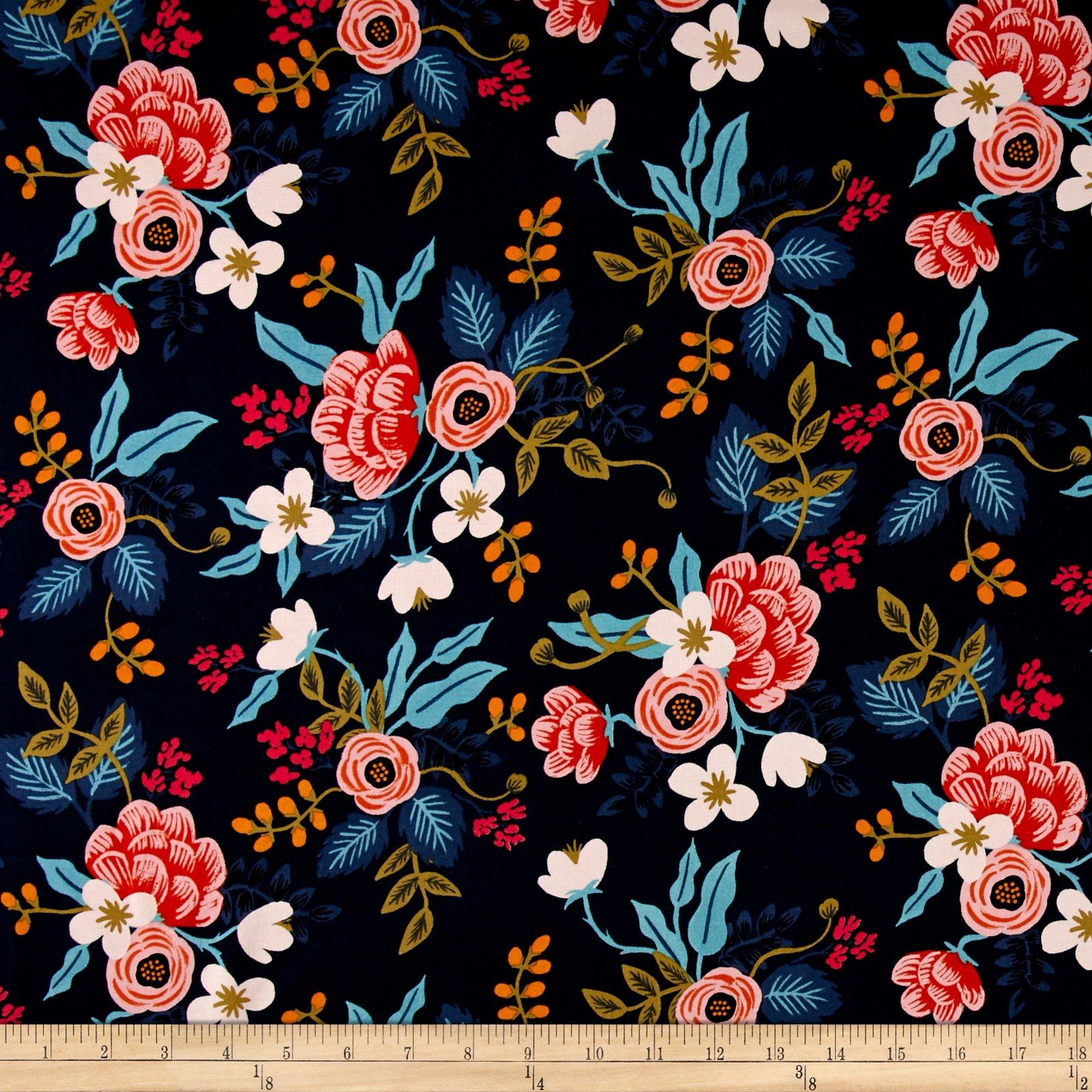 Cotton + Steel Rifle Paper Co. Les Fleurs Rayon Challis Birch Floral Fabric by The Yard, Navy