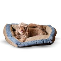 """K&H Pet Products Vintage Bolster Pet Bed Premium Logo Small Brown/Blue 21"""" x 30"""""""