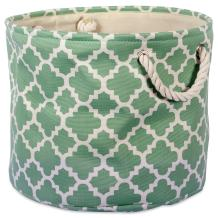 DII Printed Polyester, Storage Bin -Medium Round, Bright Green Lattice