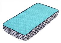 Bacati Liam Aztec Quilted Top Cotton Percale with Polyester Batting Diaper Changing Pad Cover, Aqua/Navy