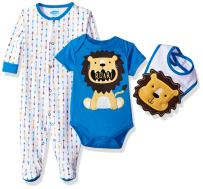 Bon Bebe Baby Boys' 3 Pc Take Me Home Set with Coverall, Bodysuit, Bib
