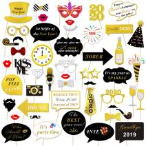 2020 New Years Photo Booth Props Kit(50pcs),Konsait Funny Glitter New Years Eve Party Photo Booth Sticks for Adult Kids Women Man Party Accessories 2020 New Year Party Decor Decoration Favor Supplies