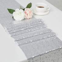 """DOLOPL Sequin Table Runners 12"""" X108 Inch Glitter Silver Table Runner Party Supplies Fabric Decorations for Wedding Birthday Baby Shower"""