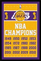 "Trends International NBA Los Angeles Lakers - Champions, 22.375"" x 34"", Black Framed Version"