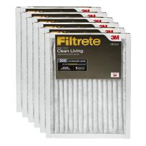 Filtrete Clean Living Basic Dust AC Furnace Air Filter, MPR 300, 20 x 30 x 1-Inches, 6-Pack