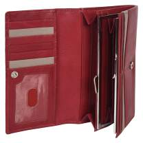 Leatherboss Genuine Leather Designer Clutch for Women, Red/Beige