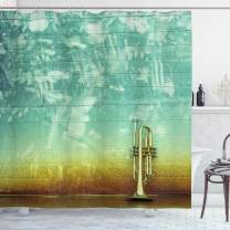 """Ambesonne Music Shower Curtain, Old Aged Worn Single Trumpet Stands Alone Against a Faded Wall Jazz Theme Photo, Cloth Fabric Bathroom Decor Set with Hooks, 84"""" Long Extra, Green Brown"""