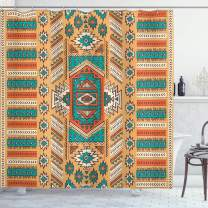 """Ambesonne Tribal Shower Curtain, Secret Tribe Pattern in Bohemian Style, Cloth Fabric Bathroom Decor Set with Hooks, 84"""" Long Extra, Apricot Orange"""