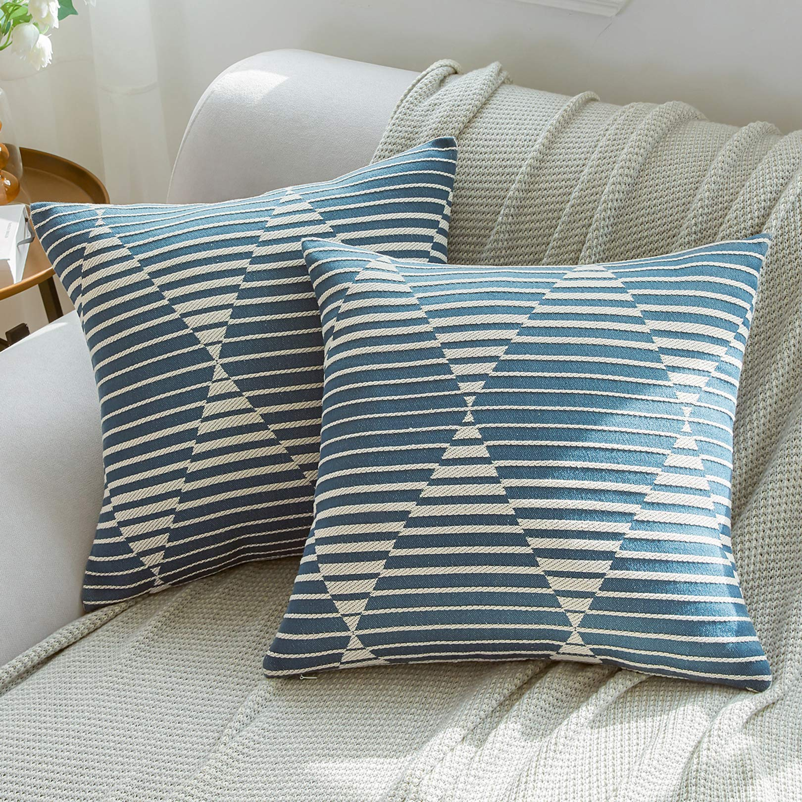Basic Model Pack of 2 Geometric Decorative Throw Pillow Covers Blue Cushion Cover Square Pillowcases for Sofa, 18x18 Inches