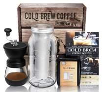 Cold Brew Coffee Maker Starter Kit - Half Gal Mason Jar   Stainless Filter Basket   Ceramic Burr Grinder   Half Pound Certified Organic Whole Bean Cold Brew Blend   Recipe & Instruction Book