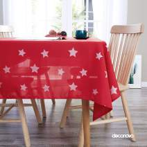 Deconovo Christmas Decorations Printed Stars Pattern Tablecloth Wrinkle Resistant Oxford for 8 Foot Table Dining Room 54 x 108 Inches Red