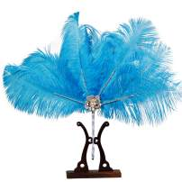 Metme Feather Fan Peacock Bridal Bouquet 1920s Ostrich Marabou Handheld Crystal Flapper Accessories for Dance