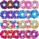 Tatuo 24 Pieces Shiny Metallic Scrunchies Hair Scrunchies Elastic Hair Bands Scrunchy Hair Ties Ropes for Women or Girls Hair Accessories, Large (Rainbow Colors)