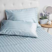 Welhome King Size 100% Cotton Striped Sateen Sheet - Set of 4 - Breathable - Soft - Deep Pocket - Easy Fit - Powder Blue