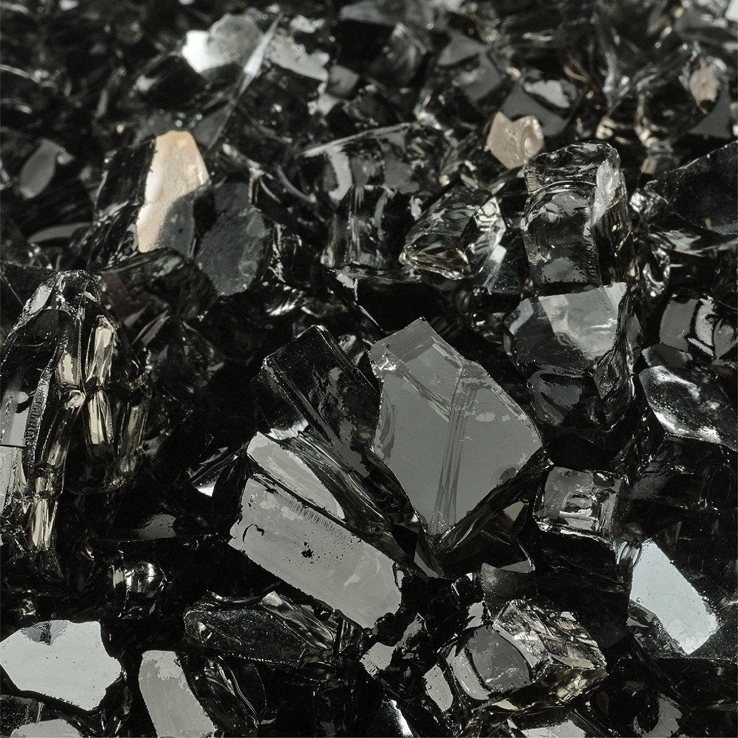 Midnight Black - Fire Glass for Indoor and Outdoor Fire Pits or Fireplaces   10 Pounds   1/4 Inch, Reflective