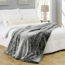 Silver Fern Premium Double-Sided Faux Fur Throw Blanket - Extra Large: 60x80 Inches, Frosted Charcoal - Plush Velvety Soft Minky Material - Luxury Softness & Warmth - Machine Washable