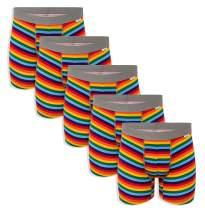 WunderWear Men's 5 Pack Soft Cotton Stretch Boxer Briefs Pride Rainbow Color Underwear