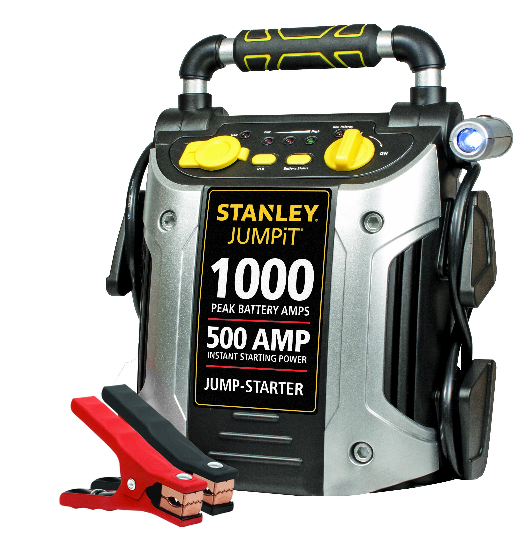 STANLEY J509 JUMPiT Portable Power Station Jump Starter: 1000 Peak/500 Instant Amps, USB Port, Battery Clamps
